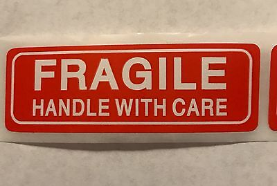 """100 Ct- FRAGILE HANDLE WITH CARE 1"""" x 3"""" Sticker Sheets, Easy Peel & Apply"""