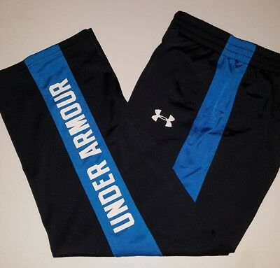 Under Armour UA Boy Youth L Large YLG Black Blue Athletic Pants Loose Fit