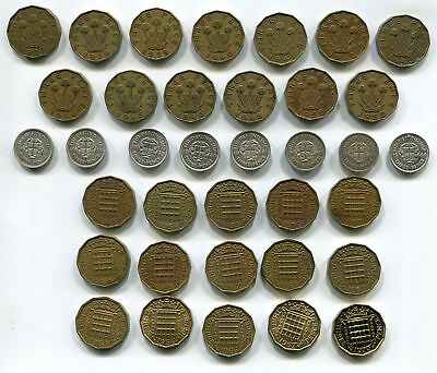 Great Britain Silver 3 Pence 1937-1944 + Ni Brass 1937-1967 KGVI QEII (36 pcs)