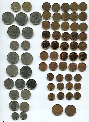 Great Britain 1/2p-1p-2-5-10-20-50 Pence £1 1970+ Dates Many UNC &Prooflike (71)