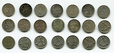 Great Britain Silver 3 Pence 1911-1936 Collection KGV (21 pcs)