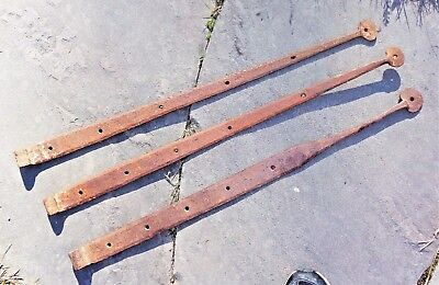"""3 Antique Old Primitive BARN DOOR HINGE STRAP 30"""" Hand Forged Iron Steampunk"""