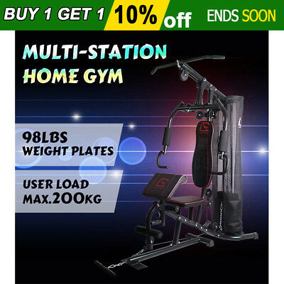 Adjustable Weight Stack Multi Station Home Gym Fitness Equipment Bench Press Oz