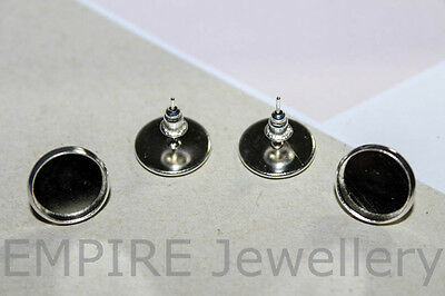 5 Pairs (10) Bright Silver Tone Stud 12x12mm Cameo Earring Setting Cabochon Post