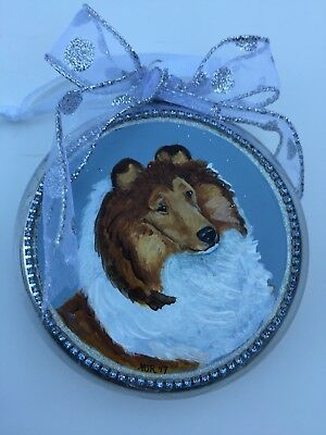 OOAK hand painted Collie Dog Christmas ornament