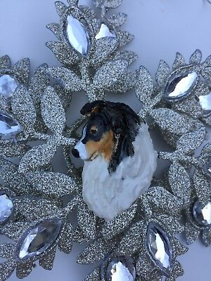 OOAK hand sculpted tri-colored sheltie shetland sheep dog sparkly ornament