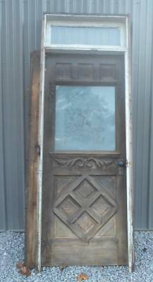 Ornate Antique Oak House Entry Door (etched glass mountain scene) Transom window