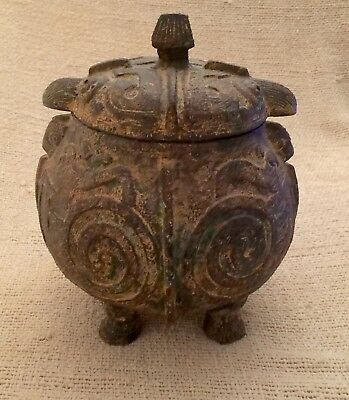 Asian Chinese Japanese Lidded Bronze Pot Wine Vessel Owl Motif