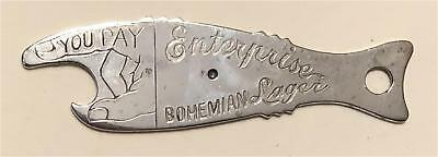 1930s Enterprise Brewing Fall River MA You Pay Fish Spinner Bottle Opener A-20-1