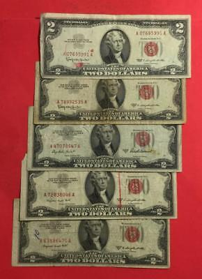 1953-1963 $2 RED US Deuces Set of 5 Legal Tenders RED DEUCES! Currency!!