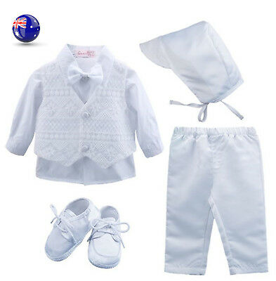 Boys baby children white Long sleeves christening shower outfits suits shoes set