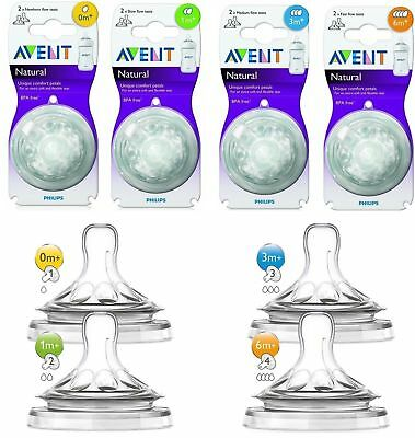 Philips Avent Natural Teats 0m+1m+3m+ 6m+ Newborn Slow Medium Fast Variable Flow
