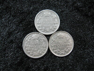 3 old world SILVER coin lot CANADA five 5 cents 1907 1918 1919 KM13 22 FREE S&H