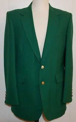 Kelly Green Masters Jacket Mens 42R Blazer Sports Coat Gold Button Golf Stafford