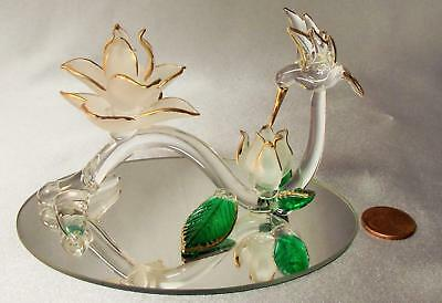 Clear Blown Glass HUMMINGBIRD on Stem w/Frosted Flowers Gold Accent on Mirror