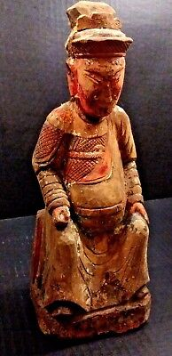 Qing Dynasty Wooden Shrine Figure - Beautiful Carving - 18/19th Century or older