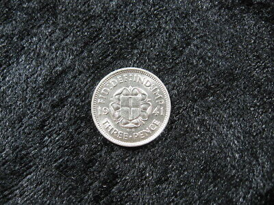 1 old world SILVER coin lot GREAT BRITAIN 3 pence 1941 KM848 FREE SHIPPING