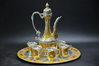 COLLECTIBLE EXQUISITE OLD MIAO SILVER CARVED FLOWER TEA POT CUP PLATE SET zp