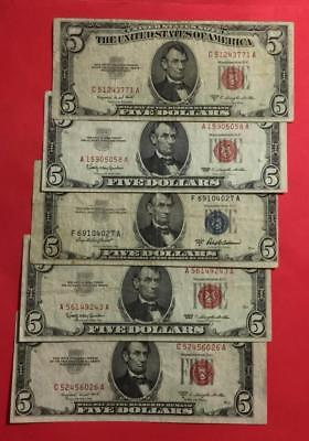 1953-1963 $5 Blue SILVER Certificate & RED US LEgal Tenders Set of 5! X771
