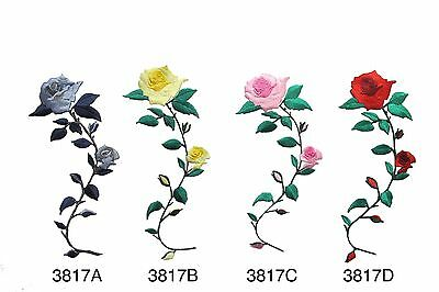 "#3817 6-3/4""H Pink,Red,Yellow,Grey Rose Flower Embroidery Iron On Applique Patch"