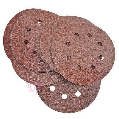"5"" 8-Hole 60 Grit Sand Disc Paper Random Orbit Sandpaper Hook and Loop Sander"