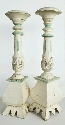 Wonderful Pair Of Antique Victorian Architectural Candlestick Holders!!