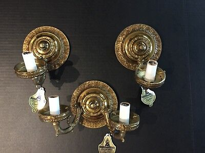 Matching Solid Brass Electric Wall Sconces Light Fixtures Regency NEW OLD STOCK