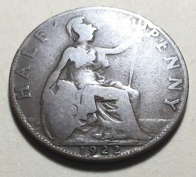 Great Britain (UK) 1922 Half Penny Coin - King George V
