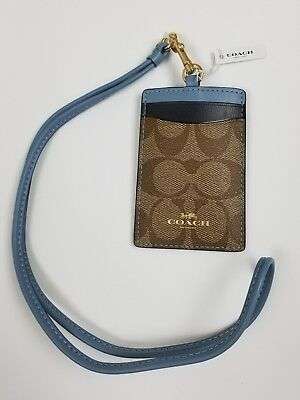 COACH Brown True Red Signature C ID Card Holder & Lanyard $65 NWT