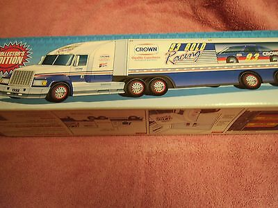 1998 Crown Race Car Carrier Collector's Edition With Friction Race Car