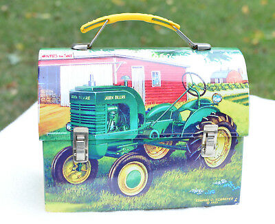 "JOHN DEERE Lunch Box ""Apples For Sale"" Edward C Schaefer 1997 Farming"