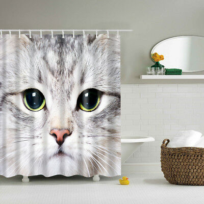 polyester shower curtain bath curtains set water resistant fabric cat face - Cat Curtains