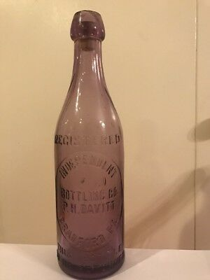 RARE Antique Purple Bottle Independent Bottling Co P.H. Davitt Bradford PA