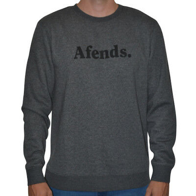 New Men's Afends Field Crew Neck Sweat Top Charcoal Marle