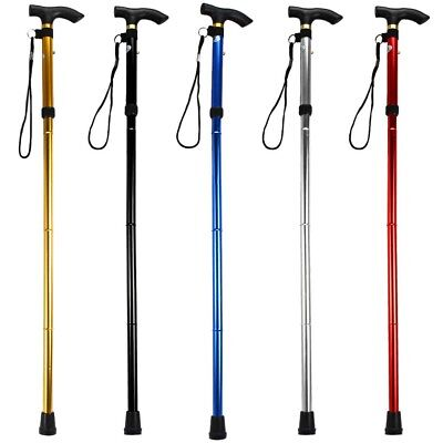 HOT Aluminum Metal Walking Sticks Adjustable Easy Folding Non-slip Travel Cane
