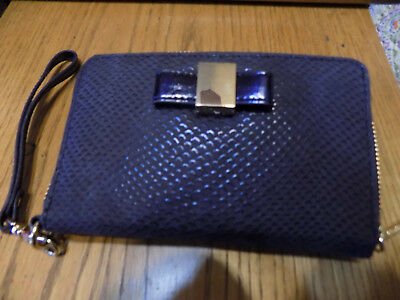 NEW Ivanka Trump NAVY Faux Leather Purse Phone Case Wristlet Wallet Clutch NWT