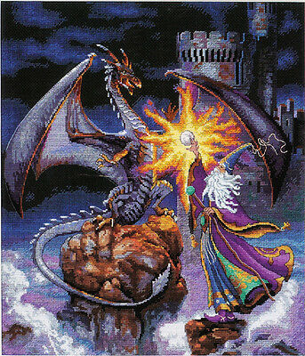 Castle Dragon and Wizard - Cross Stitch Chart - FREE POST
