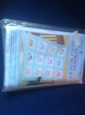 Nursery quilt blocks for hand embroidery