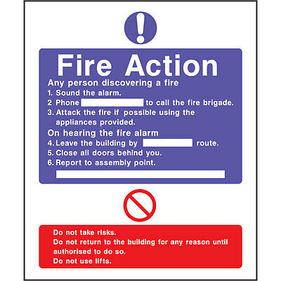 Fire Action your assembly point (sticker) HSE - OFFICE - SHOP
