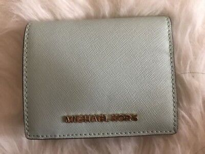 Michael Kors Jet Set Travel Flap Card Holder Saffiano Dusty Blue Leather Wallet