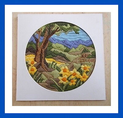 Longstitch Embroidery Country Landscape Farmhouse/Daisies/Tree Finished Project