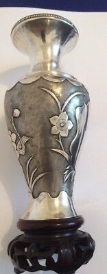 Antique Chinese Silver Vase on Stand with makers mark 182mm tall.
