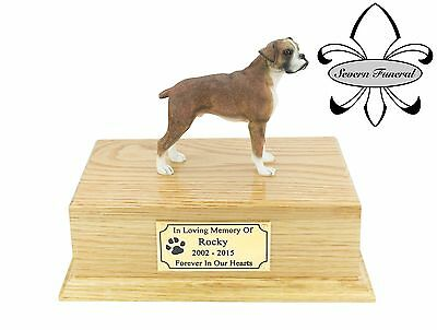 Luxury Solid Wood Oak Urn, pet, dog, ashes, memorial, Boxer