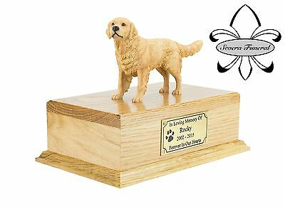 Luxury Solid Wood Oak Urn, pet, dog, ashes, memorial, Golden Retriever