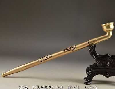 Collection China Brass Old Handwork Hammered Dragon Phoenix Smoking Tool