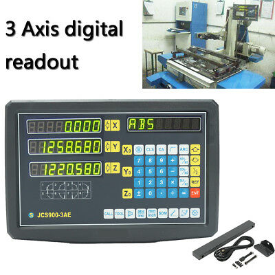 3 Axis Digital Readout Display Grating Milling Electronic Scale Lathe Machine US