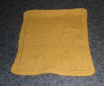Brand New Hand Knit Cute Corgi Dog Yellow  Dish Cloth For Dog Rescue Charity