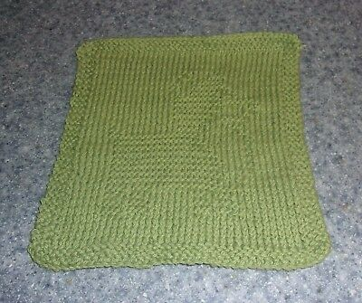 Brand New Hand Knit Cute Corgi Dog Green Dish Cloth For Dog Rescue Charity