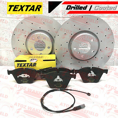 FOR BMW X5 X6 M50d FRONT CROSS DRILLED TEXTAR BRAKE DISCS PADS WEAR WIRE 385mm