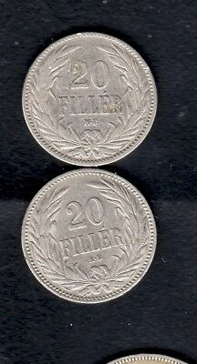2 Hungary Coins, 20 Filler 1893, 1894 Year